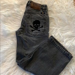 Lucky Brand black jeans with skull 💀 pockets 6
